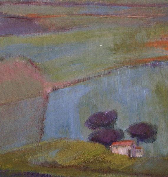 Paneeltje blauw landschap, 30 x 30, acryl, € 95,-