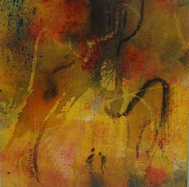 Boswandeling ( haiku Joke), 20 x 20, acryl op stof, € 95,-