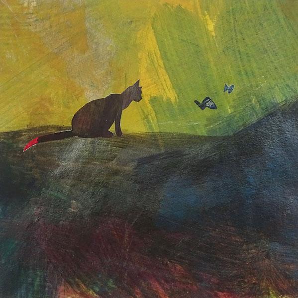 kat met vlinder, 16 x 16, acryl op papier, € 75,-