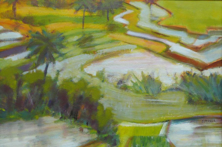 Bali (geel), 26 x 37, acryl op papier, € 195,-