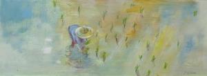 Rijstveld, Thailand, 14 x 38, acryl op papier, € 175,-