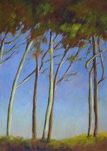 Bomen, vertikaal, 49 x 69, acryl op papier, € 295,-
