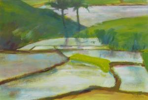 Bali (groen), 26 x 37, acryl op papier, € 195,-
