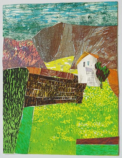 Huisje 1, 29 x 37, grafiekcollage, € 245,-