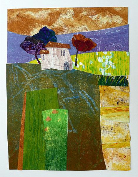 z.t.  (huisje), 28 x 37, grafiekcollage, € 295,-;
