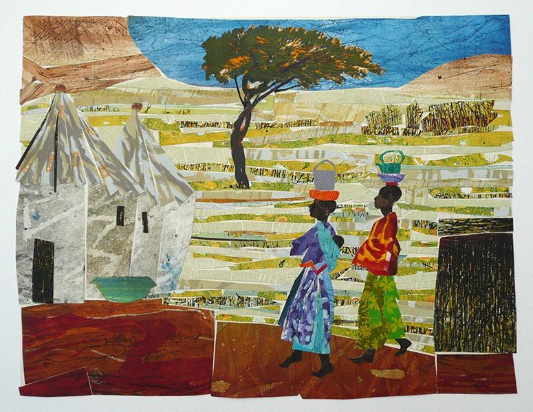 Afrika, 39 x 52, grafiekcollage, € 380,-;