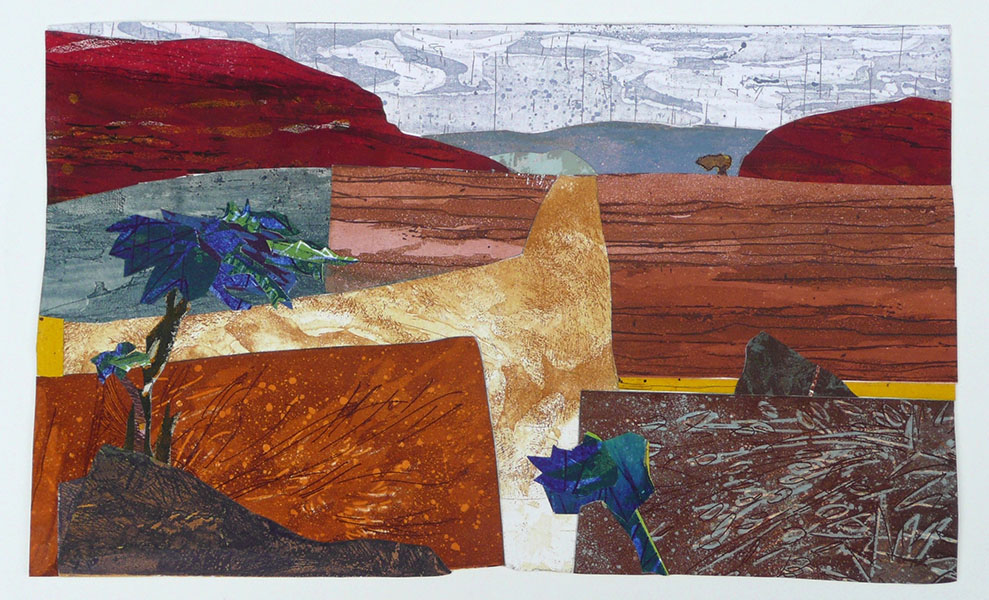 Woestijn, 28 x 46, grafiekcollage, € 245,-