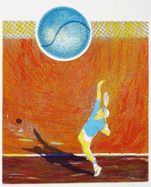 doelgericht (tennis), 34 x 40, ets/linosnede, € 145,-