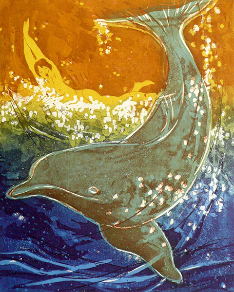 Waterballet (dolfijn), 29 x 36, ets/linosnede, € 145,-;