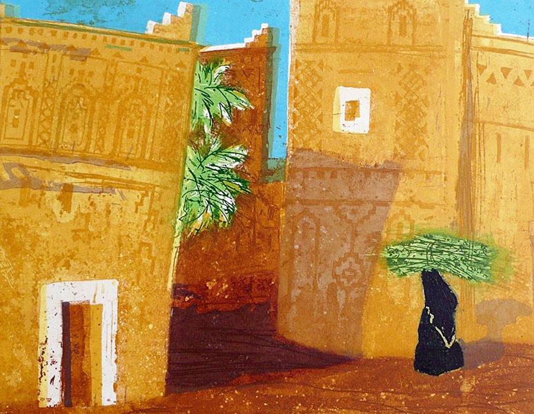 Marokko I, 33 x 41, ets/linosnede, € 145,-;