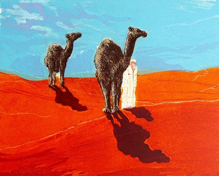 Marokko  III, 33 x 41, ets/linosnede, € 145,-;