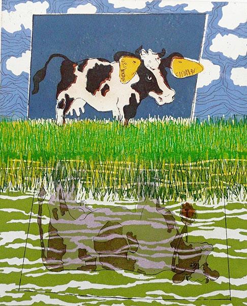 Zelfbeeld, optimist, 31 x 38, ets/linosnede, € 145,-;