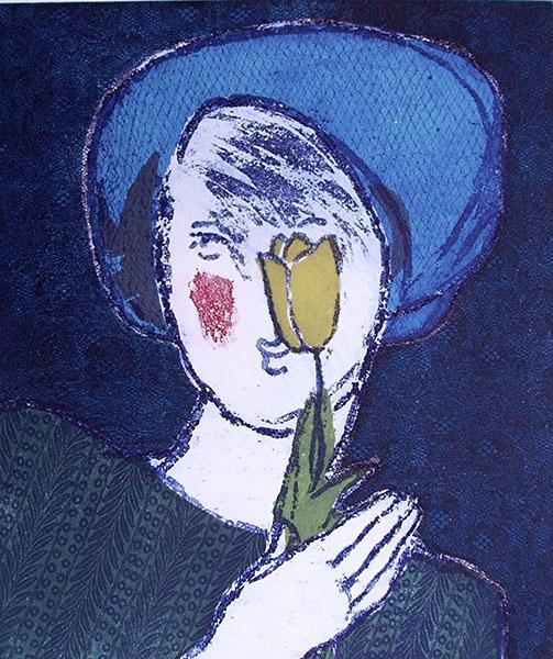 Bleu  I, 32 x 38, ets/linosnede, € 145,-