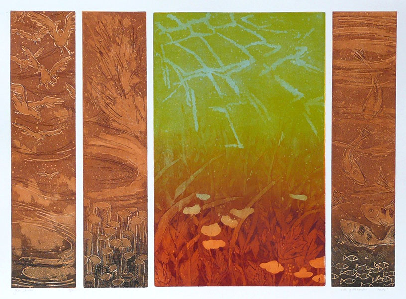 De 4 elementen, aarde, 49 x 69, ets/linosnede, € 295,-;