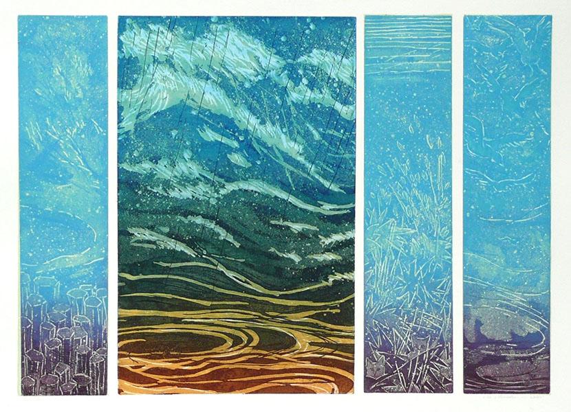 De 4 elementen water, 49 x 69, ets/linosnede, € 295,-;
