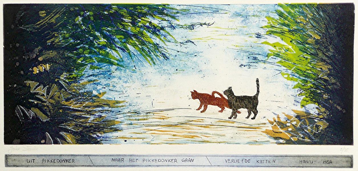 Haiku, verliefde katten, 23 x 49, ets/linosnede, € 235,-;