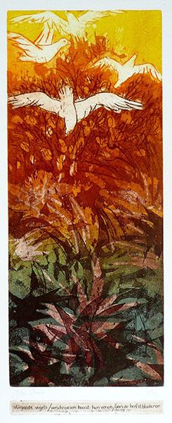 Haiku, vogels, 20 x 53, ets/linosnede, € 235,-;