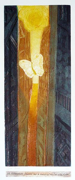 Haiku, vlinder, 20 x 53, ets/linosnede, € 235,-;