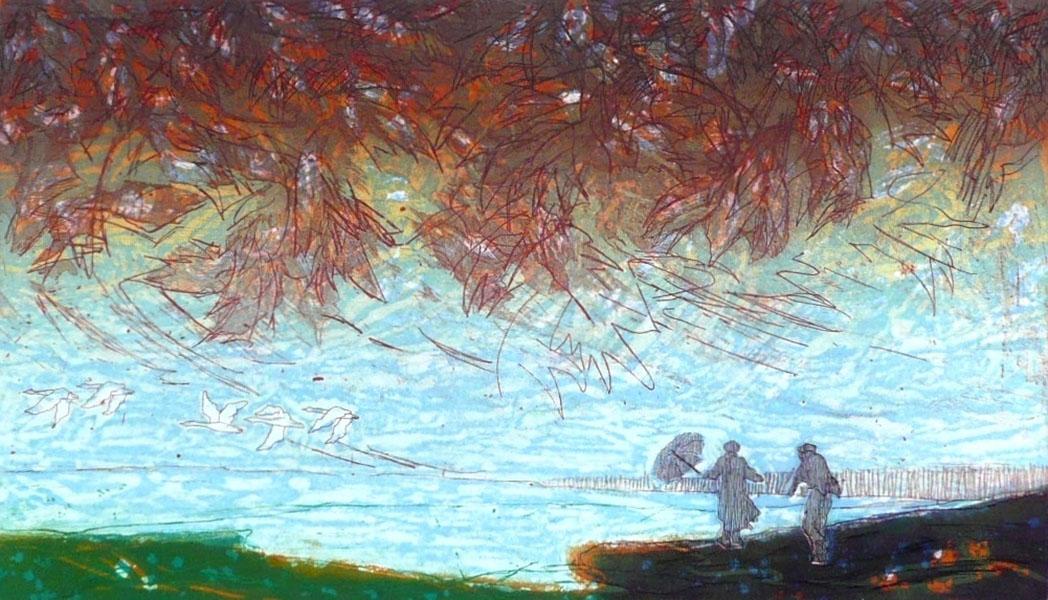 En plotseling is het herfst, 26 x 45, ets/linosnede, € 255,-;