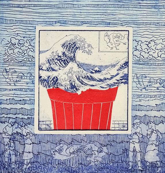 Storm in een glas water, 33 x 35, ets/linosnede, € 175,-