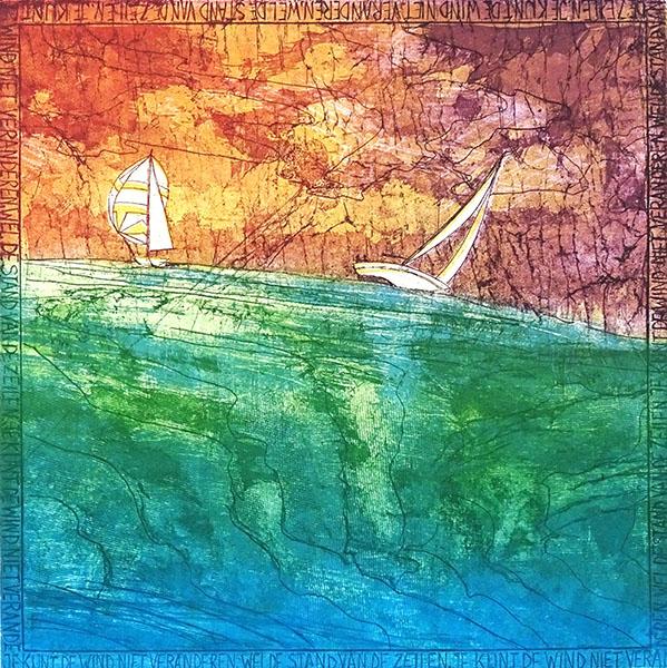 Gedachten van een optimist (boot), 28 x 28, ets/linosnede, € 135,-;