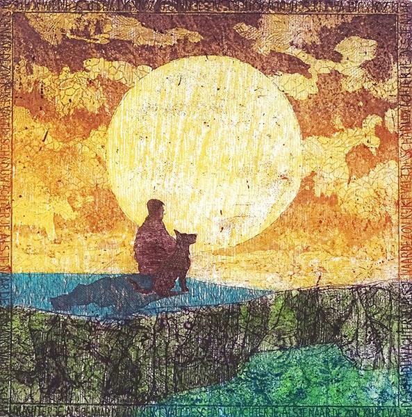 Gedachten van een optimist (zon), 28 x 28, ets/linosnede, € 135,-;