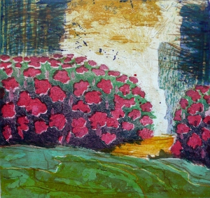 Rhododendron, 25 x 26, ets/hout/droge naald, € 175,-;