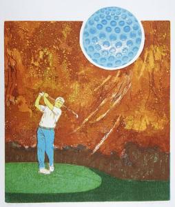 doelgericht (golf), 34 x 40, ets/linosnede, € 145,-