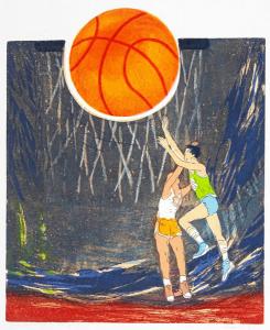 doelgericht (basketbal), 34 x 40, ets/linosnede, € 145,-
