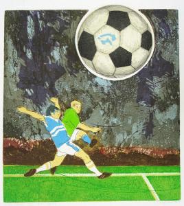 doelgericht (voetbal), 34 x 40, ets/linosnede, € 145,-