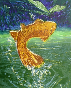 Waterballet (forel), 29 x 36, ets/linosnede, € 145,-;