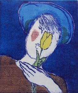 Bleu  II, 32 x 38, ets/linosnede, € 145,-