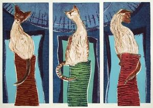 De 3 gratiën ( katten), 48 x 68, ets/linosnede, € 255,-