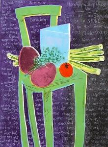 Leest lekker  III (groente), 39 x 53, ets/linosnede, € 325,-;