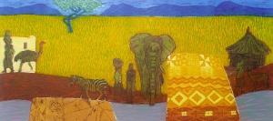 Dichtbij en toch zo ver (Afrika), 27 x 58, ets/linosnede, € 235,-;