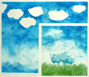Schaap-wolkjes, 37 x 43, ets/aquatint, € 145,-