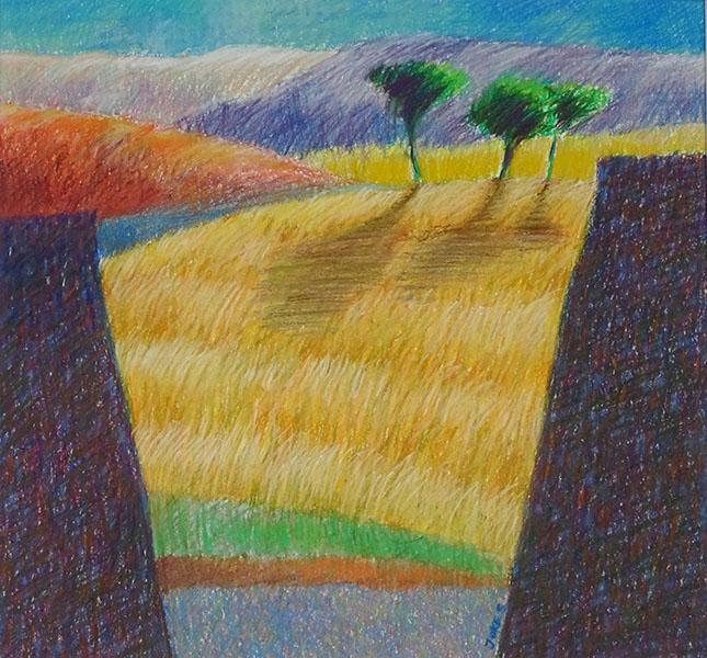 Landschap, 36 x 39, pastel, € 285,-