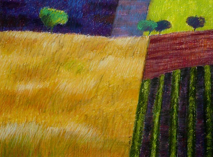 Korenveld (met 4 boompjes), 35 x 48, pastel, € 285,-