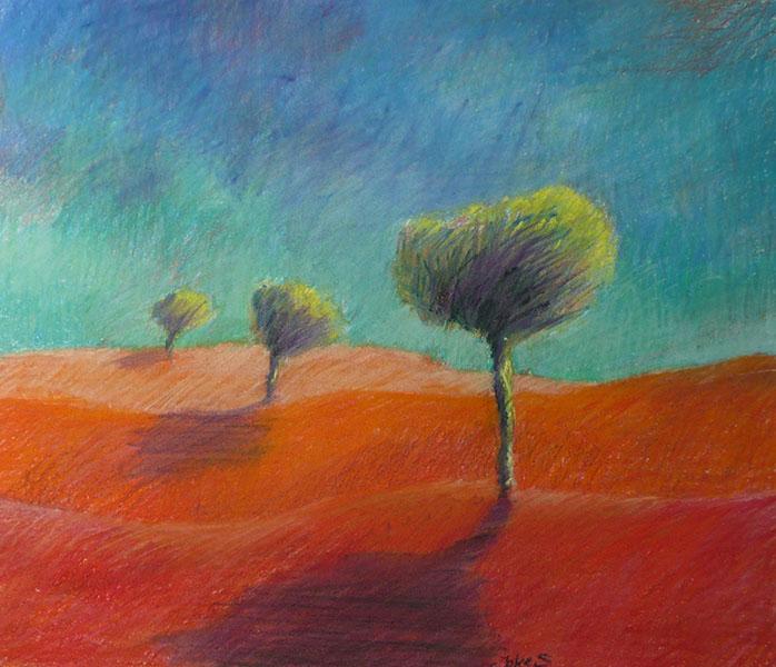Rood landschap, 40 x 47, pastel, € 285,-