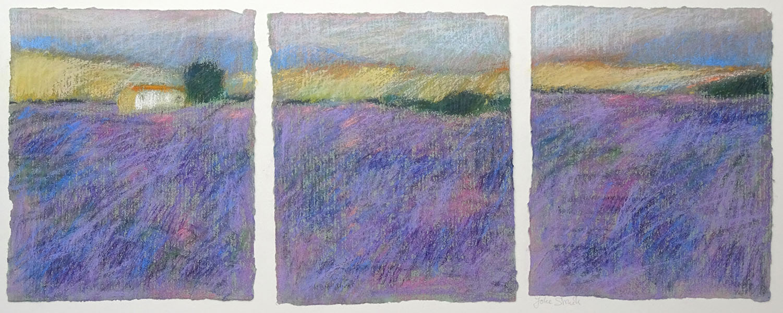 Drieluik, lavendel, 30 x 50, pastel, € 165,-