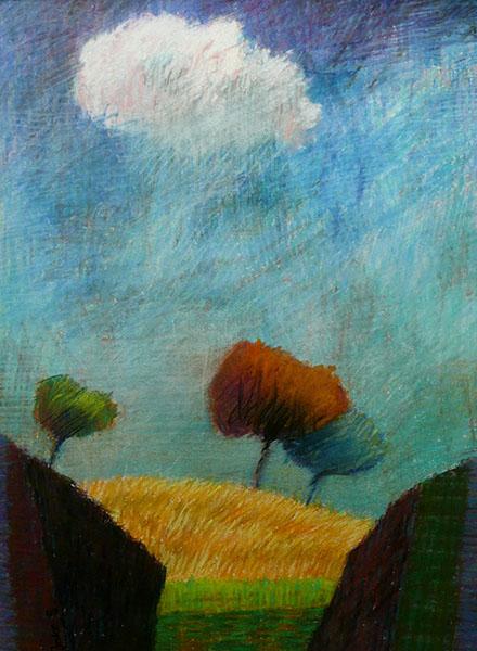 Landschap met witte wolk, 29 x 39, pastel, € 195,-
