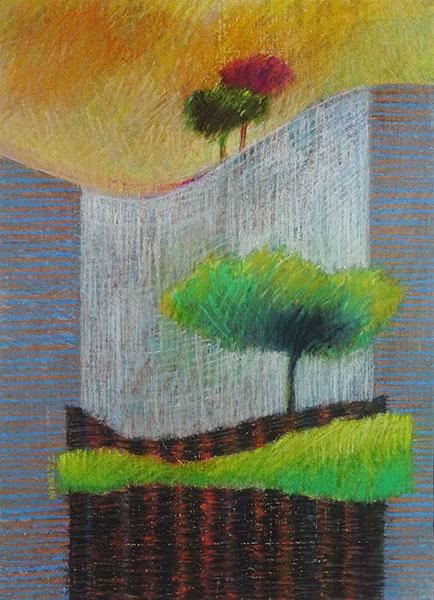 Landschap, 29 x 40, pastel, € 195,-