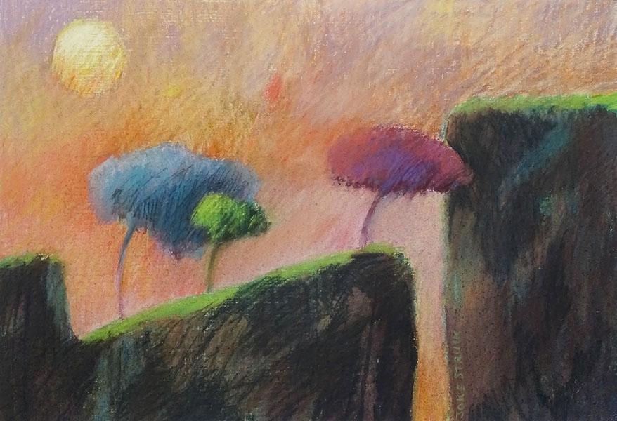 Avondlandschap  (zon), 28 x 40, pastel, € 195,-