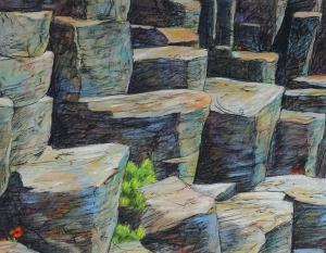 Sterker dan steen II, (basalt), 42 x 54, pastel, € 325,-