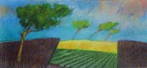 Langwerpig landschap, 27 x 58, pastel, € 220,-