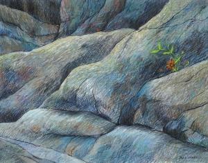 Sterker dan steen I, (graniet), 42 x 54, pastel, € 325,-