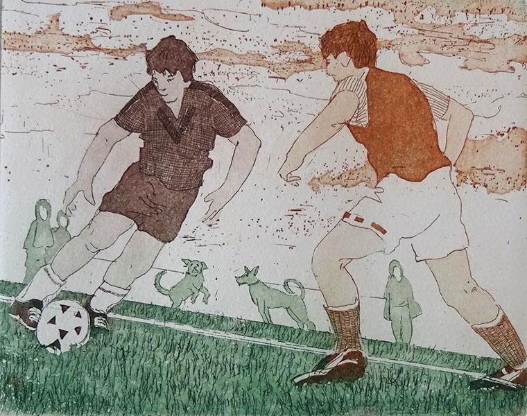 voetbal, 10 x 14, ets/aquatini, € 30,-