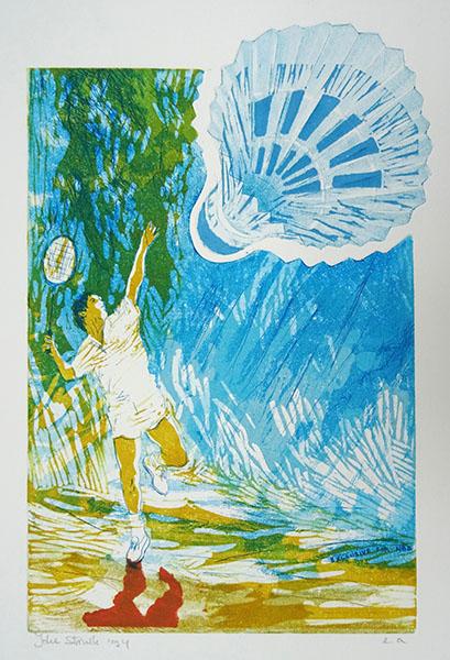 badminton, 19 x 30, ets/linosnede, € 90,-