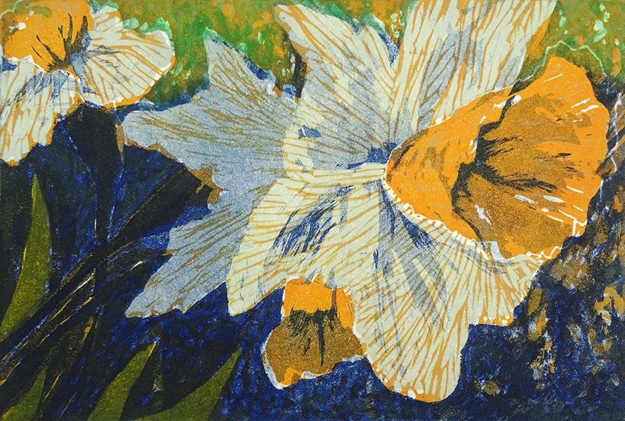 narcis, 18 x 26, ets/linosnede, € 55,-