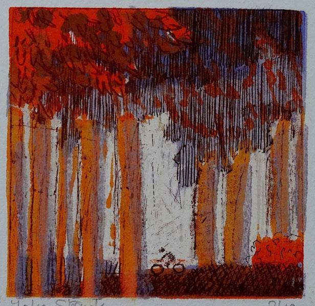 bosgezicht (roodbruin), 15 x 15, ets/linosnede, € 45,-